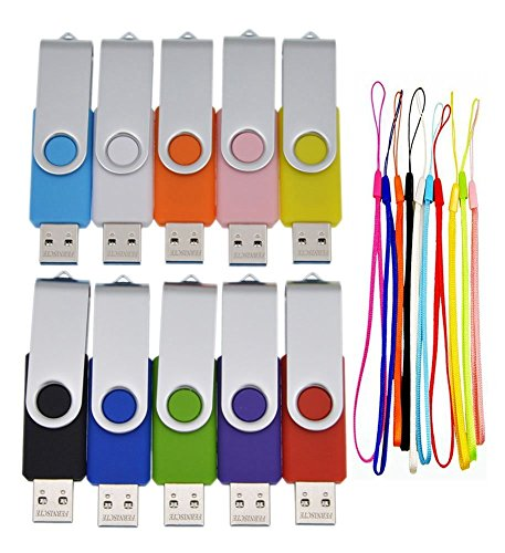 (8GB USB 3.0 Flash Drive Bulk 10 Pack Thumb Drives - Foldable Memory Stick Data Storage Zip Drive - Portable Jump Drive Gift Multi-Coloured Pen Drive by FEBNISCTE)