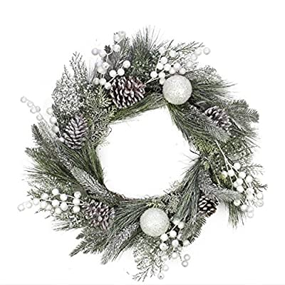 """Northlight Unlit Frosted Artificial Mixed Pine/Pine Cone Wreath with White Berries and Balls, 24"""""""