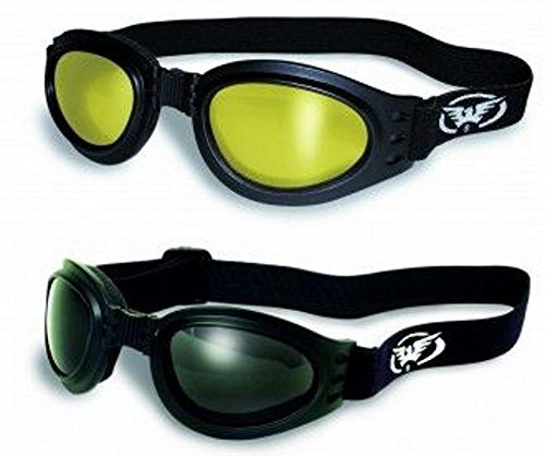 2 TWO Padded Motorcycle Goggles Motorcyle Googles Smoke and Yellow Tint Mirror They Fold in Half for Easy Storage in Your Pocket or Other Places