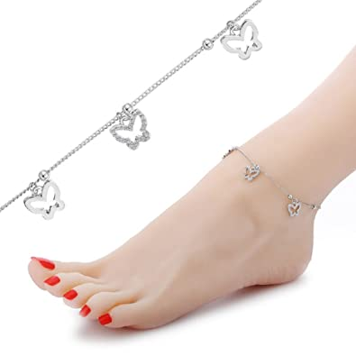 3e35246d1 Amazon.com  HoBST Butterfly Ankle Bracelet Foot Jewelry Beach Cute Anklet  Chain for Girl  Jewelry
