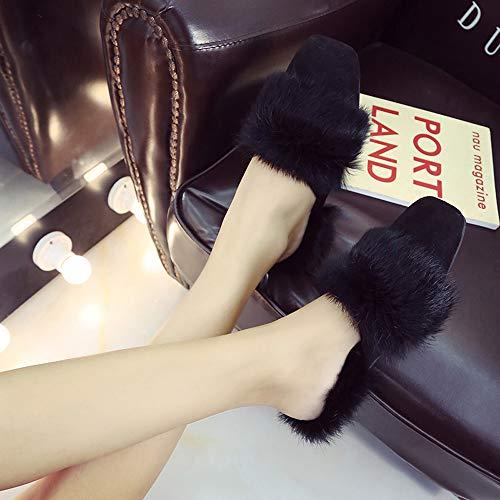 Delta Sandales Alikeey t Fausse Tacon Tongs Fluffy Chaud On Pour Femmes Fourrure Hiver Noir Haute Slip Pantoufles Magnum Tw8qTr1