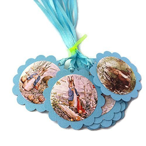 Blue Peter Rabbit Favor Tags for Baby Boy Shower and Birthday - Set of 12