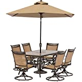 Hanover Fontana 7 Piece Dining Set with 6 Swivel Chairs for Dining (Small Image)