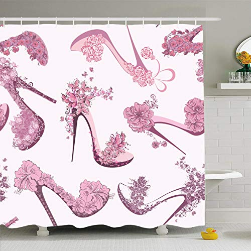 Ahawoso Shower Curtain for Bathroom 72 x 72 Inches Retro Pink Heel Pattern Shoes High Dress Girl Drawing Shopping Elegance Waterproof Polyester Fabric Set with -