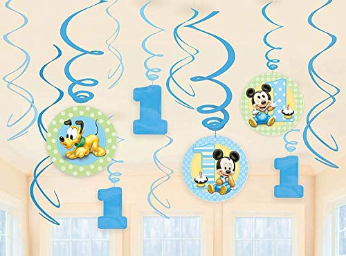 12-Piece Mickey's 1st Birthday Swirl Decorations, Multicolored