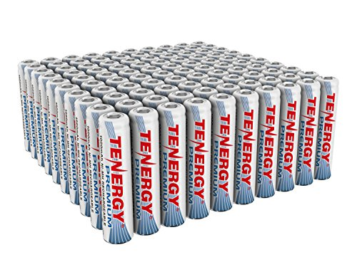 Tenergy Premium Rechargeable AAA Batteries, High Capacity 1000mAh NiMH AAA Batteries, AAA Cell Battery, 100-Pack