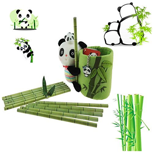 Apol Panda and Bamboo Theme Stationery Set Include 12pcs Bamboo Pencils 1pc Pencil Holder 1pc Panda Keychain 1pc Ceramic Panda Toy for Kids Study - Panda Pencil