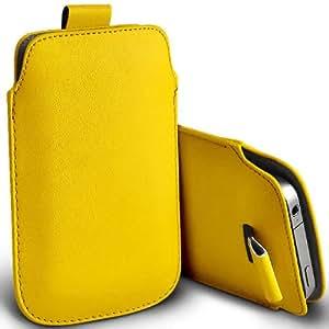 ONX3 Samsung E600 Amarillo PU Tire la lengüeta de protección bolsa cubierta de la funda