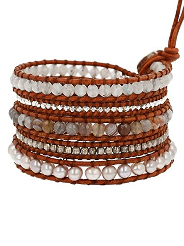 Chan Luu Women's Sterling Silver 5 Wrap Bracelet on Leather with Nuggets, Semi Precious Stones and Fresh Water Pearls Pink Pearl Mix One Size