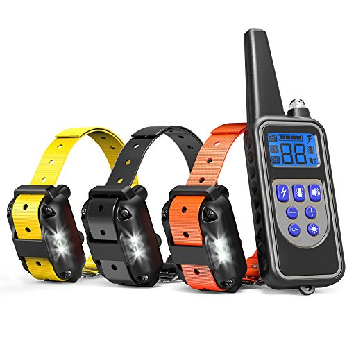 Dog Training Collar for 3 Dogs, Cambond 3 Dog Shock Collar with Remote 2600ft Range Waterproof Electronic Dog Collar for Medium and Large Dogs with 4 Training Modes Light Shock Vibration Beep by Cambond