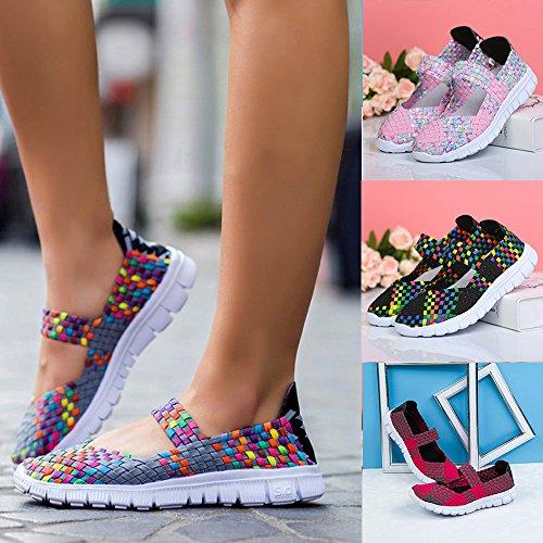 Aire Rosado De Zapatos Al Verano Libre Respirable Colorido Mujer Cómodas Paja Para Primera Calidad Sandalias Bajas Deportivas Jogging Zfx4xTdq