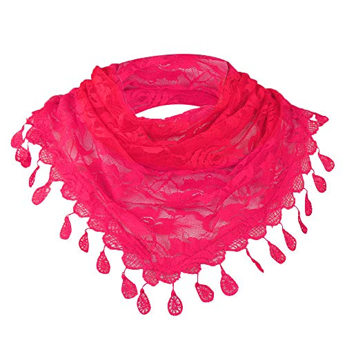 Scarves for Women Lightweight GOVOW Women Lace Tassel Rose Floral Hollow Scarf Shawl Lady Wraps - Ftd Gifts Rose