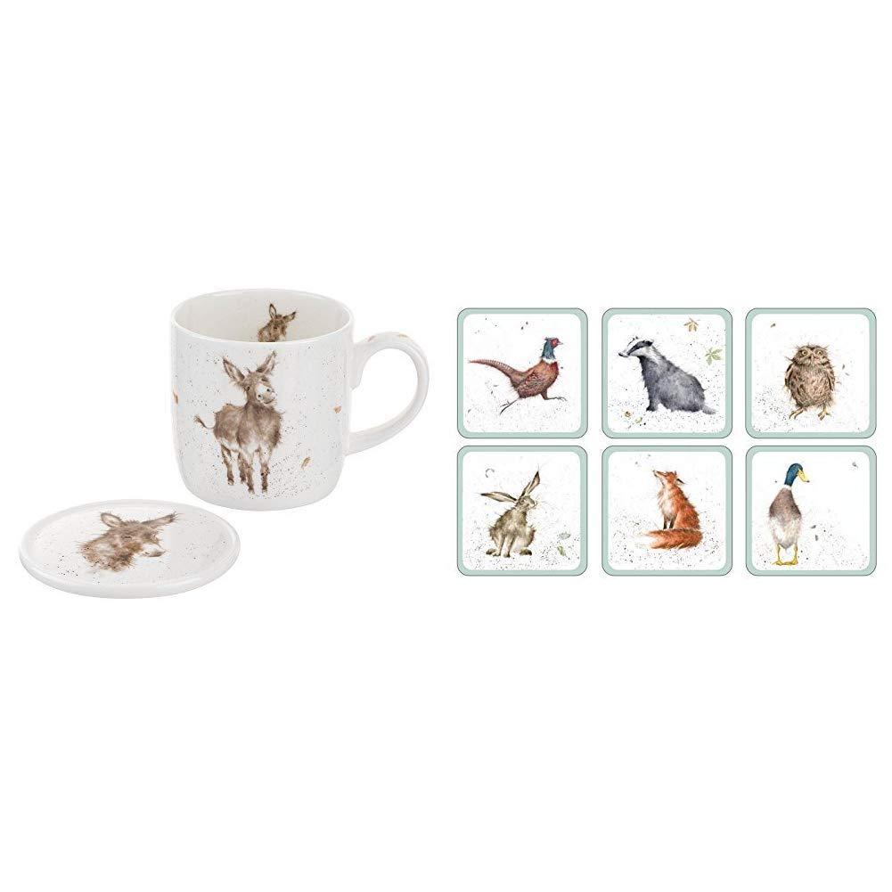 Wrendale by Royal Worcester Mug and Coasters Gentle Jack Donkey Multi-Colour