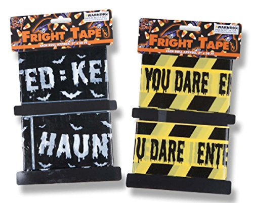 [Halloween House 20 ft Fright Tape in Assorted Designs - 2 Pack] (3 Last Minute Diy Halloween Costumes)