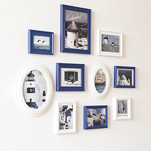 Photo frame wall Classic oval combination of solid wood photo wall porch small wall wild paragraph 10 box Photo Wall ( Color : Blue and white ) by Photo Frame Set