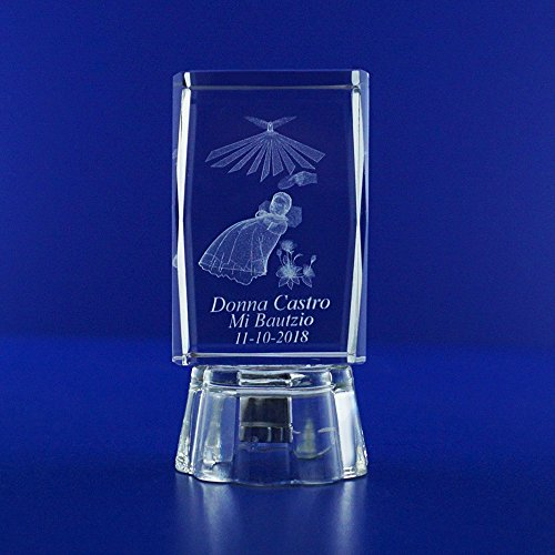 Paperweight Angel (Baptism & Christening Favor Ideas 3D Baby Angel Crystal Glass Cube with Personalized Custom Laser Etched Engraving Recuerdo de Bautizo Con Imagen Ropon (2.5