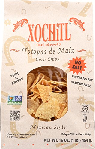 Xochitl Corn Chips No Salt, 16-Ounce Bags (Pack of 9)