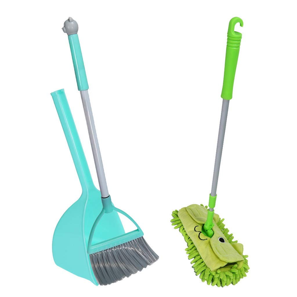 Childrens Toy Kids Cleaning Set, 3 Piece Mini Housekeeping Cleaning Tools for Children -Include Mop,Broom,Dustpan, Best Gift Boy Girl (400g, Blue and Green)