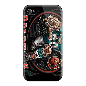 Scratch Protection Hard Phone Case For Iphone 4/4s With Custom High Resolution Miami Dolphins Skin ErleneRobinson