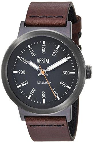 Vestal Men's 'Retrofocus' Quartz Stainless Steel and Leather Casual Watch, Color:Brown (Model: SLR443L03.DBNK)