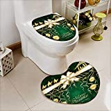Bathroom Non-Slip Floor Mat Green Christmas background with golden baubles and Christian scene with three wise men Cushion Non-slip