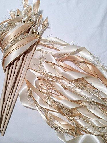 (100 wedding wands ivory and toffee send off ribbon streamers with gold frayed ribbon)