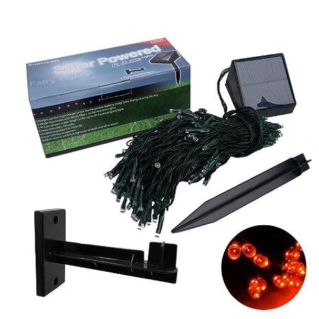 SuperLED 140 Solar luz LED roja DIGITAL cuerdas MULTI + efecto sin vallas / + soporte de pared jardín, ideal para uso durante todo el año: Amazon.es: Jardín
