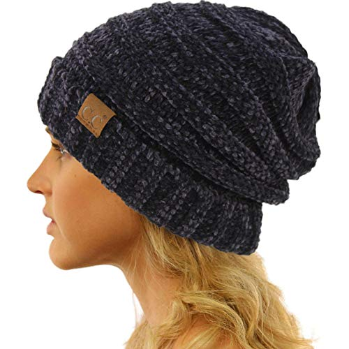 (Winter Trendy Warm Oversized Chunky Baggy Stretchy Slouchy Skully Beanie Hat Chenille Navy)