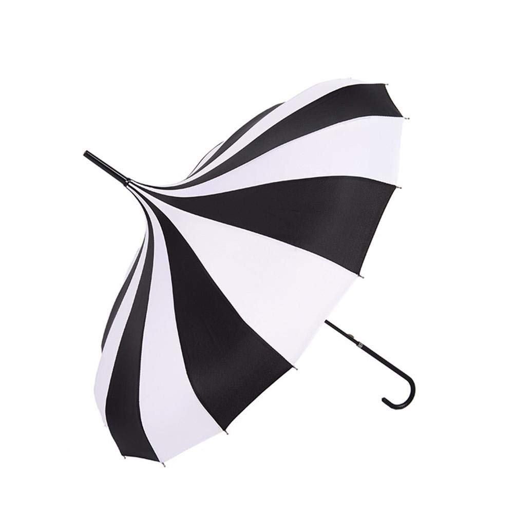 and Sun Umbrellas Black and White Rain Umbrella Large Long Handle Gothic Classical Windproof Tower Pagoda Style Including Classic /& UV Protection Version