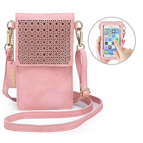 - seOSTO Small Crossbody Bag, Cell Phone Purse Smartphone Wallet with 2 Shoulder Strap Handbag for Women (pink)