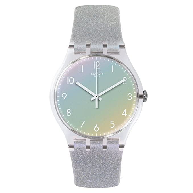 Swatch Girl's SUOK116 New Gent Analog Swiss Quartz Silicone Grey Watch