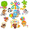 Wall Decals for Kids Rooms. Happy Zoo Animals Wall Stickers. Peel and Stick Removable Vinyl Room Decor. Nursery Wall Decal
