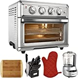 Cuisinart Convection Toaster Oven Air Fryer with Light Silver (TOA-60) with Mini Food Processor, 15 Pc Knife Block Set, Bamboo Cutting Board, Oven Mitts