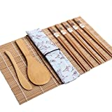 Bamboo Sushi Making Kit Japanese Style Sushi Maker Kit with 2 Sushi Rolling Mats Rice Spoon Rice Spreader 5 Pair Chopsticks Great Item for Anyone Looking to Get into The Art of Sushi Making