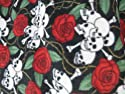 Skull Roses Fleece 58 Inches Fabric By the Yard (F.E.テつョ) by The Fabric Exchange
