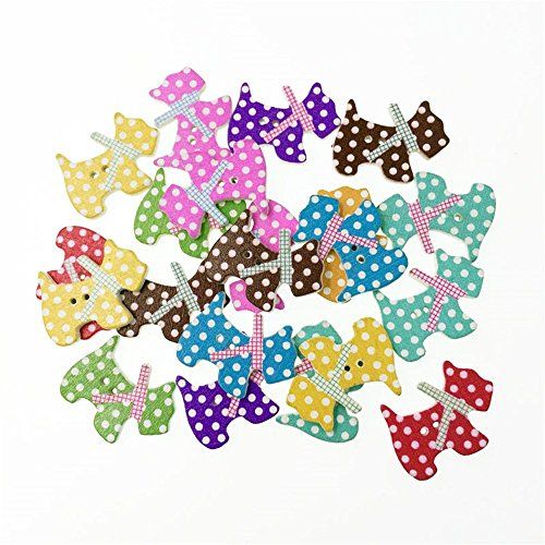 MAXGOODS 100Pcs Colorful Wood Buttons Handmade Tag label Embellishments Ornaments with 2 Holes Buttons Sew Accessories Scrapbooking Clothing Leather for Weeding Decor and Craft (Dog Shape) Dog Clothing Buttons