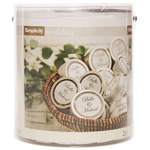 "Simplicity Wedding Candy Tin with Clear Lid, 25pc, 2""D x 7/8""H"