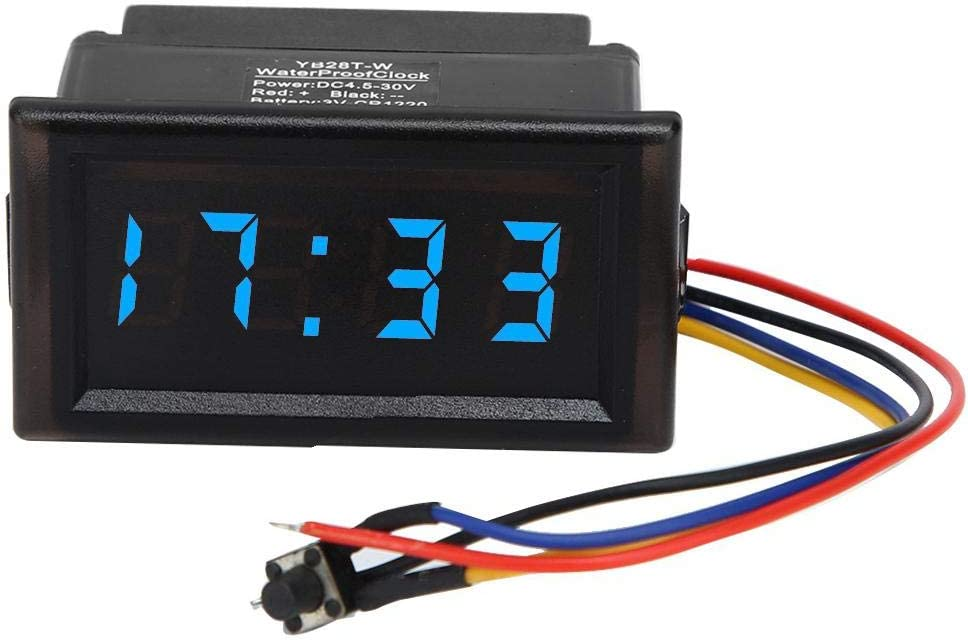 DC4.5-30V Waterproof Dustproof Car Auto Electronic Clock LED Digital Display Aramox LED Digintal Clock Green