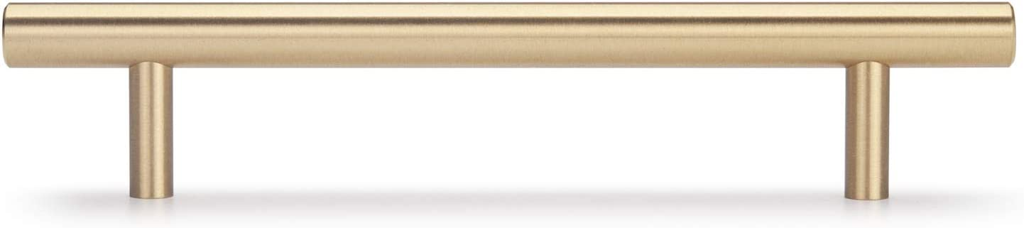 Longitud Total de 220mm, Centro de Orificio de 160mm 5 Piezas Tiradores de Muebles Pomos para Armario S/ólido Laton Tirador Cajones Cocina Oro