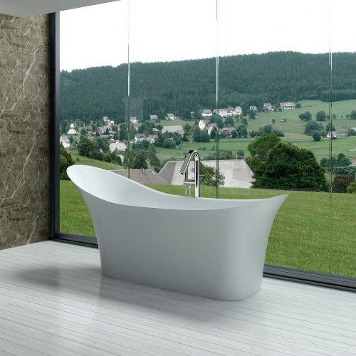 Adm glossy white stone resin bathtub sw 163 for Bathtub material comparison
