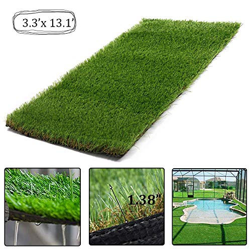 AGOOL 5.5'x6.5' Realistic Deluxe Artificial Grass Rug Synthetic Turf Thick Fake Carpet Lawn Area Mat Garden Doormat Indoor Outdoor Decoration, 5.5ft x 6.5ft=35.7 Square ft, Green by AGOOL
