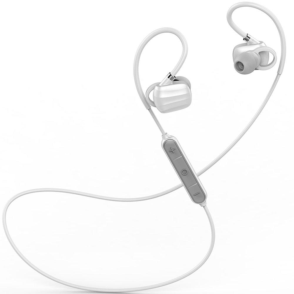 Workout Earbuds, Running Headphones, GGMM W710 Wireless Bluetooth V4.1 Headsets, IPX4 Waterproof, AptX Hi-Fi Sound, CVC 6.0 Noise Isolating, Hands Free Calling(White)