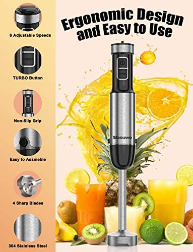 Slaouwo Hand Blender 4-in-1 Hand Immersion Blenders, Electric Hand Stick Blender with Beaker, Stainless Steel Blade, Egg Whisk for Smoothies, Soups, Sauces, Baby Food