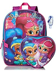 Nickelodeon Girls Shimmer & Shine Backpack & Heart Shaped Lunch Kit with Clip