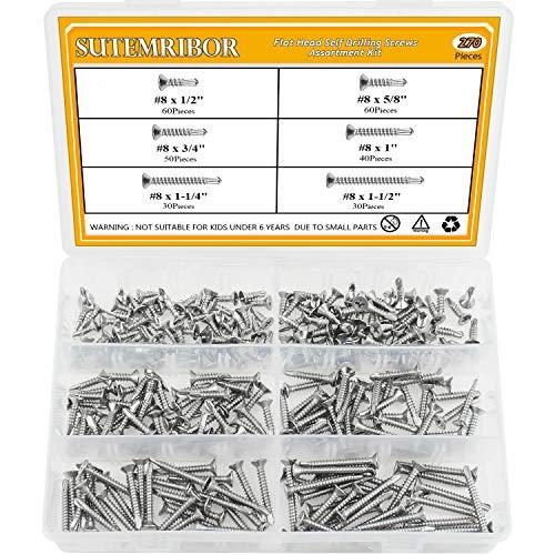 Sutemribor 410 Stainless Steel Self Drilling Screws Set (#8 Flat Head)