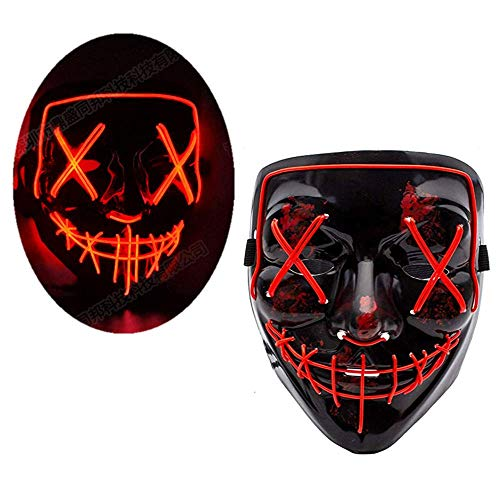LEWOTE Halloween Mask, LED Light Up Mask for Halloween Festival Cosplay Costume Party (Black-Red)