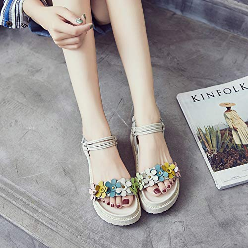 Gateau Couleur De Cm huit Kphy Femmes tudiantes En Semelle La 4 Trente Chaussures Toe Sandales paisse tudiant ponge Fleur Dames Magiques Cuir Tours pwpxqRg71