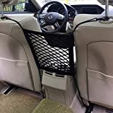 Dimik Universal Car Seat Storage Mesh/Organizer - Mesh Cargo Net Hook Pouch Holder for Bag Luggage Pets Children Kids Disturb Stopper (Single Layer)