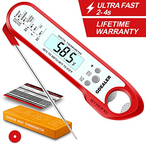 GDEALER DT7 2019 Upgraded Waterproof Digital Instant Read Meat Thermometer with 2-4s Response Time High Capacity Battery for Kitchen Food Candy BBQ Grill Cooking Smoke Deep Fry, Red ()