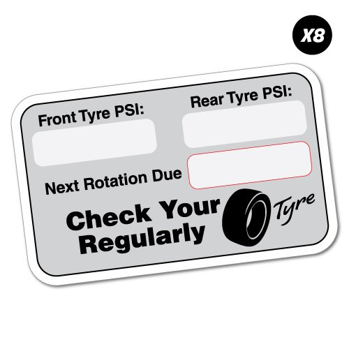 8X Tyre Tire Next Rotation Service Due Sticker Decal Oil Next Due